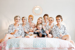 Bride and her bridal party during bridal preparations