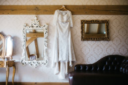 Wedding dress hanging at the Lincolnshire wedding venue