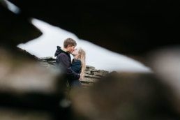 Couple kissing on their engagement photoshoot