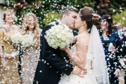 Bride and groom kissing at Newstead Priory wedding venue lincolnshire