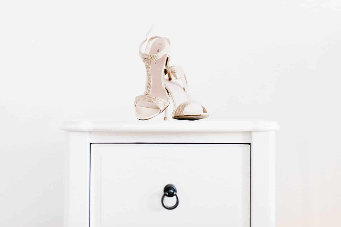 beautiful pair of shoes posed on a clean backdrop